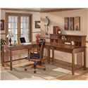Ashley Furniture Cross Island L-Shape Desk with Low Hutch - Item Number: H319-10+47+44+48