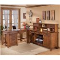 Ashley Furniture Cross Island L-Shape Desk with Credenza and Large Low Hutch - Shown with rolling file