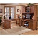 Ashley Furniture Cross Island Mission 2 Drawer Mobile File Cabinet - Shown with L-Shape Large Credenza Desk