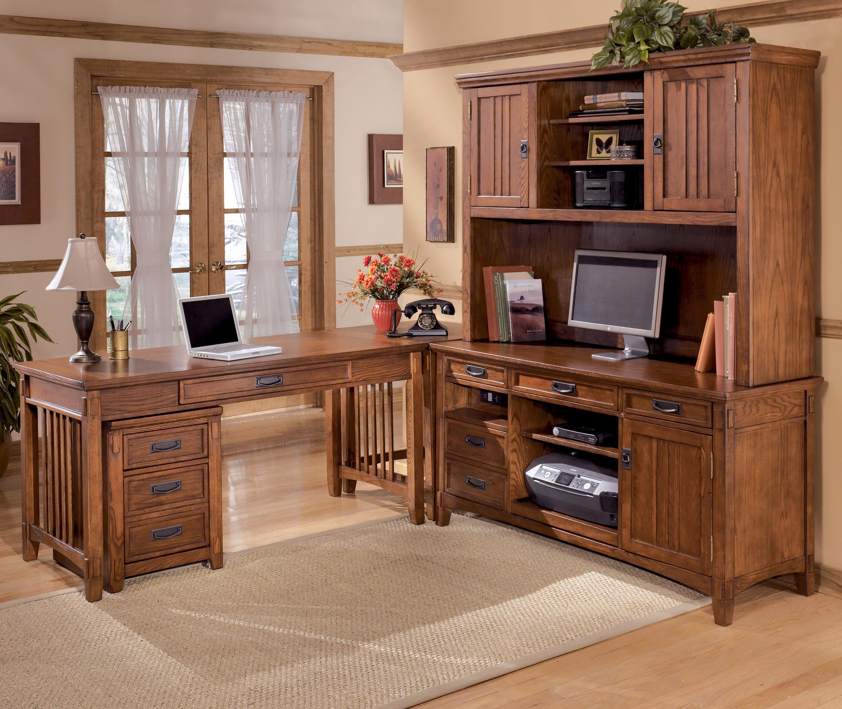 Ashley Furniture Cross Island 5 Piece L-Shape Desk - Item Number: H319-44+12+46+47+49