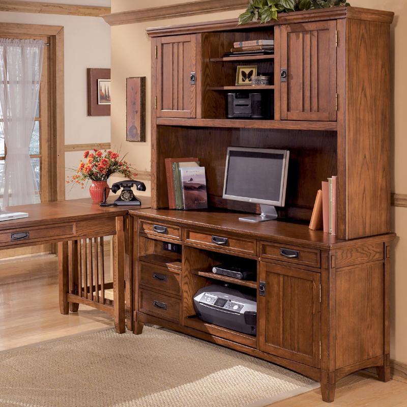 ashley furniture cross island office mission credenza desk & 2