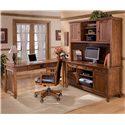 Ashley Furniture Cross Island Office Mission Credenza Desk & 2 Door Hutch Set - Shown as part of L-Shape Desk