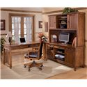 Ashley Furniture Cross Island Office Desk with Power Strip and File Drawer - H319-46 - Shown as part of L-Shape Desk
