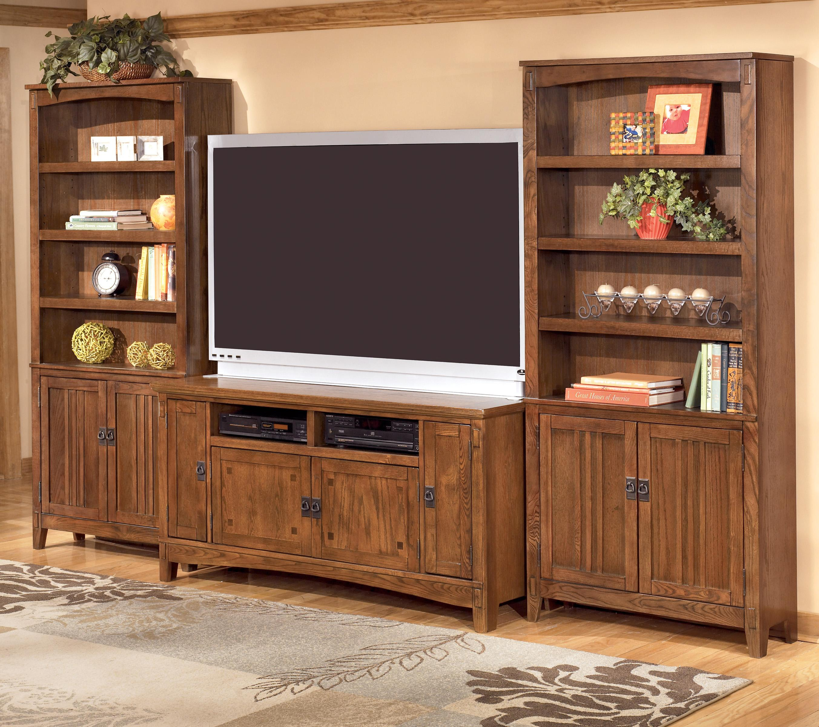 Ashley Furniture Cross Island 60 Inch TV Stand & 2 Large Door Bookcases - Item Number: W319-38+2xH319-18