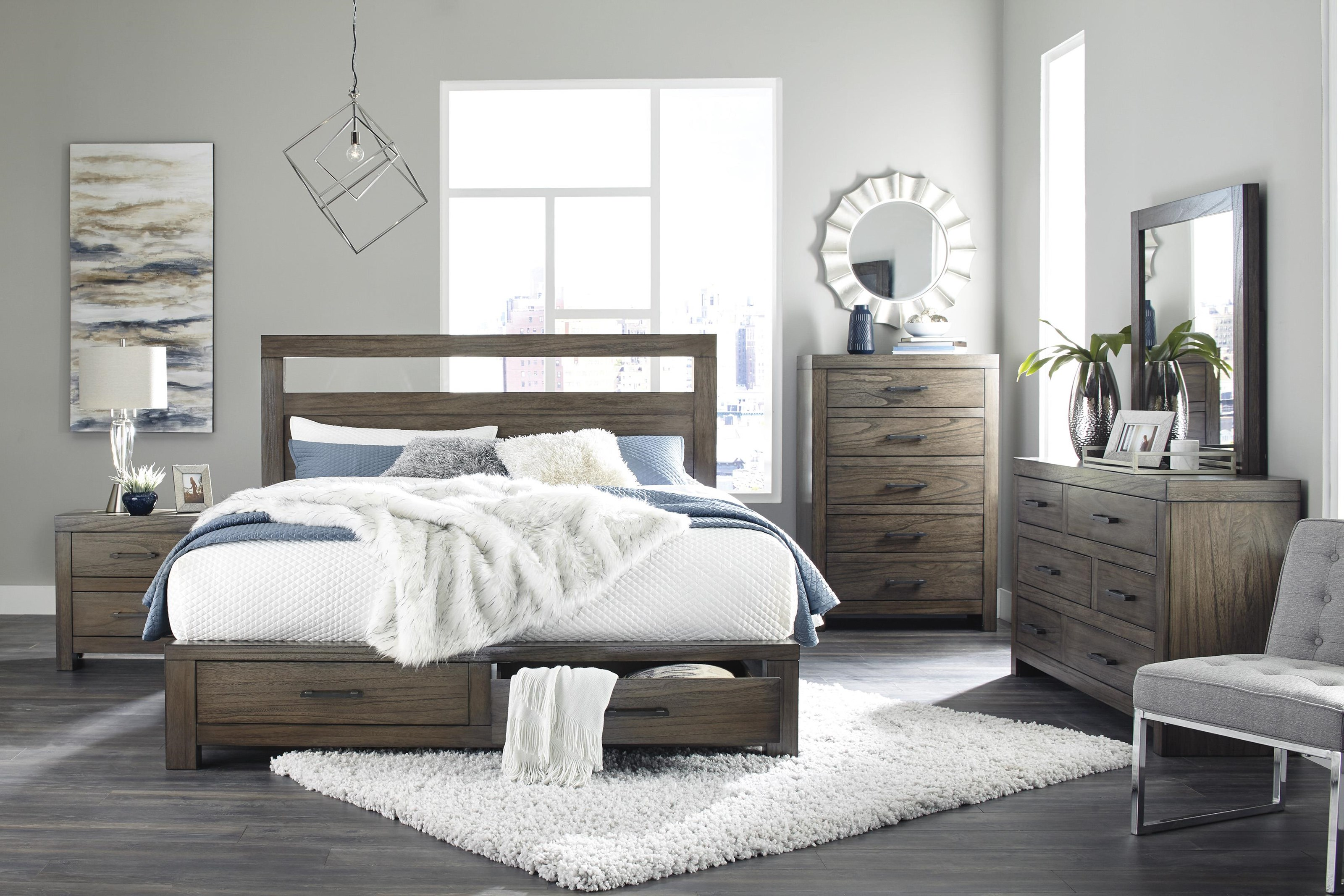 Picture of: Ashley Furniture Deylin B537 57 54s 31 36 92 Queen Platform Bed With Storage Footboard Dresser Mirror And Nightstand Package Sam Levitz Furniture Bedroom Groups