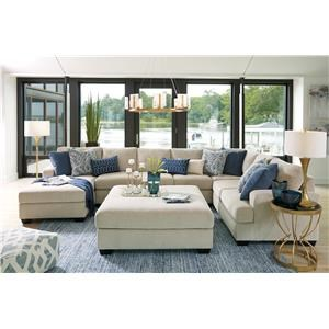5PC Left Arm Facing Chaise Sectional and Ott
