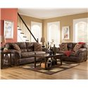 Ashley Furniture Frontier - Canyon  Stationary Sofa with Padded Arms - Shown with Loveseat