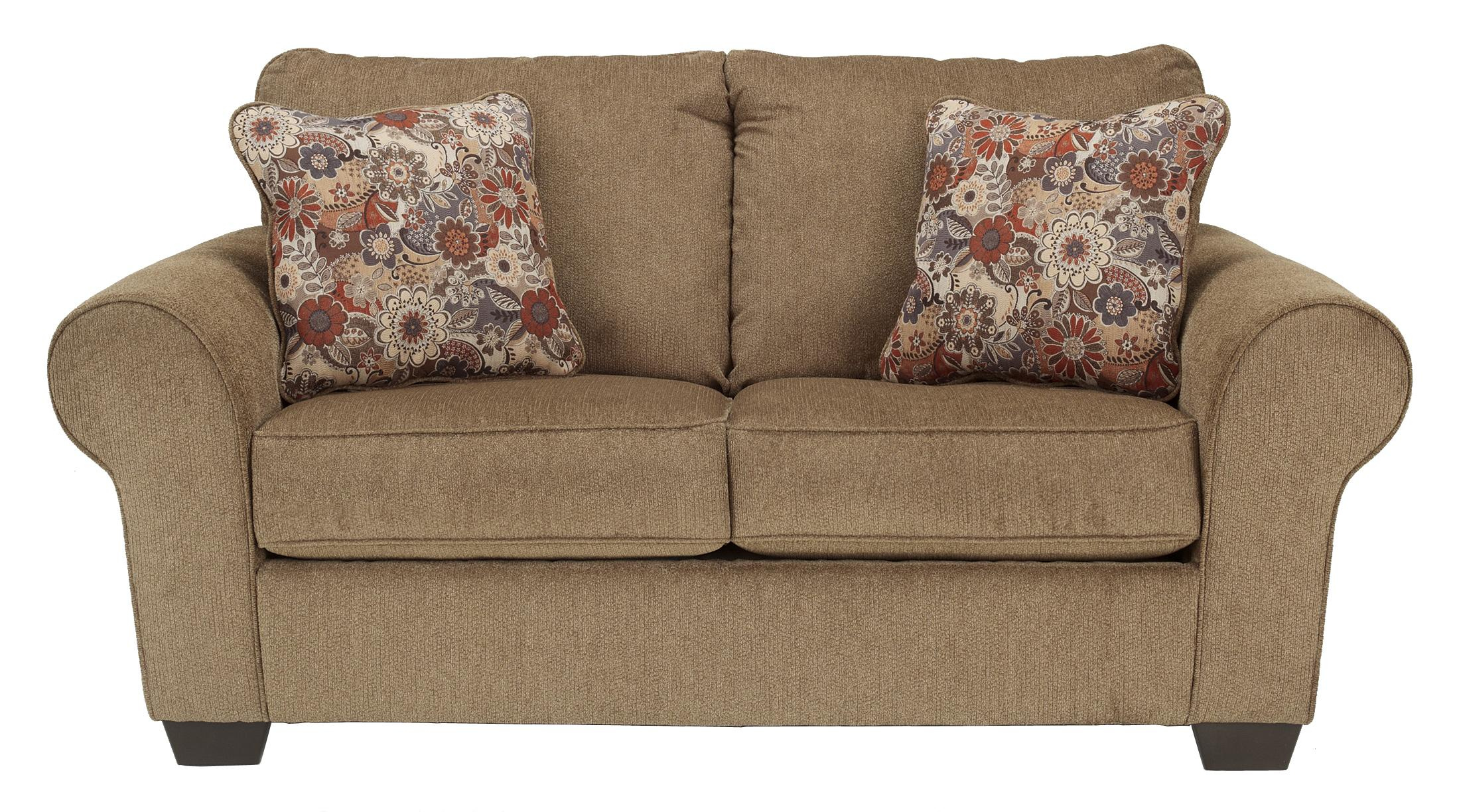Ashley Furniture Galand Umber Loveseat With Rolled Arms