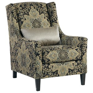 Accent Chair With Wing Back And Accent Pillow