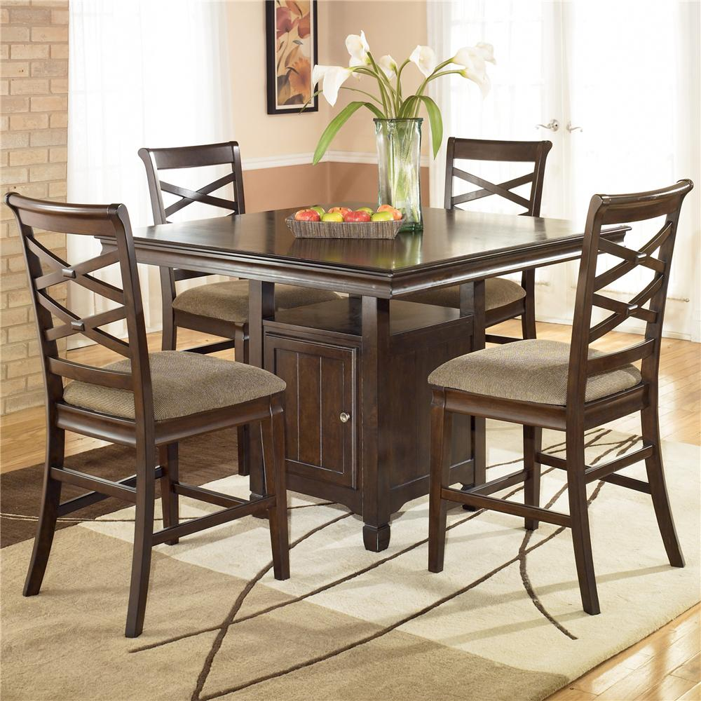 Hayley 5 Piece Contemporary Counter Height Dining Set With Four 24 Inch Bar Stools By Ashley Furniture