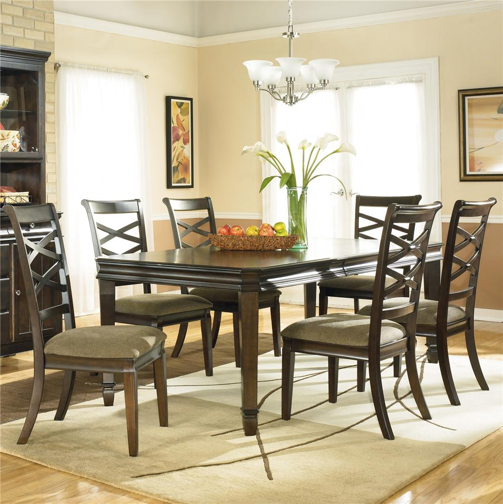 Ashley Furniture Hayley Contemporary 7 Piece Dining Set With X  # Muebles Wichita Ks