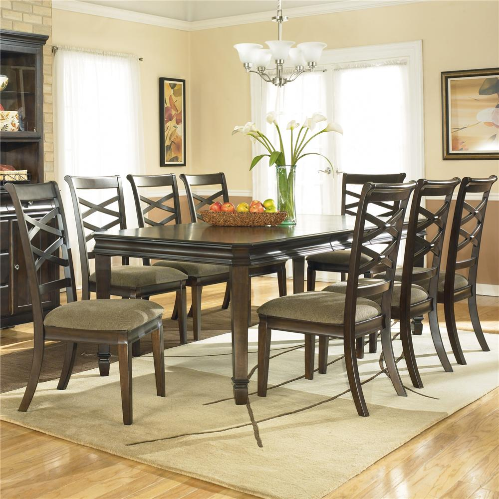 Ashley Furniture Hayley Contemporary Rectangular Dining Table With 8 Side  Dining Chairs   AHFA   Dining 7 (or More) Piece Set Dealer Locator