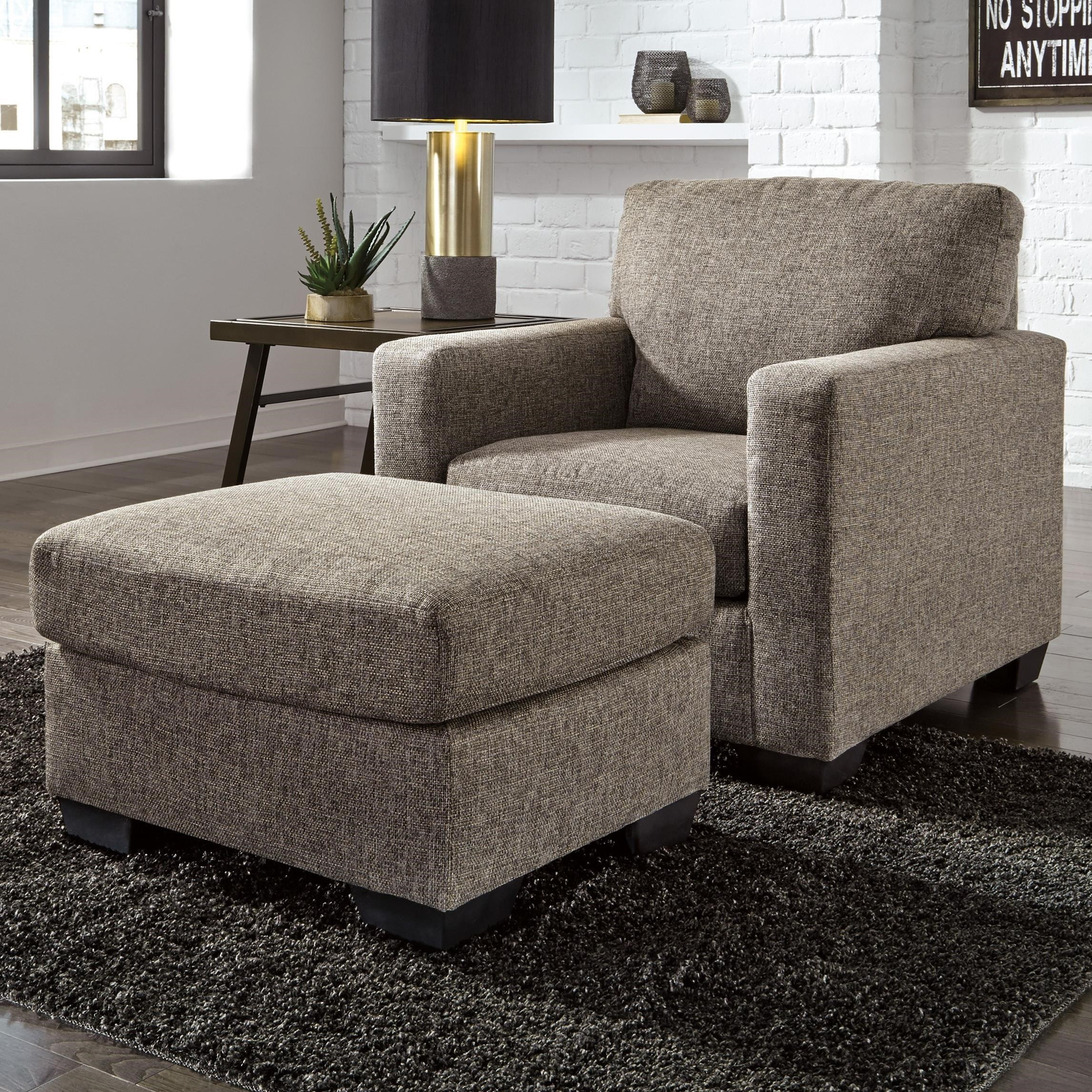 Ashley Furniture Hearne Contemporary Chair & Ottoman Household