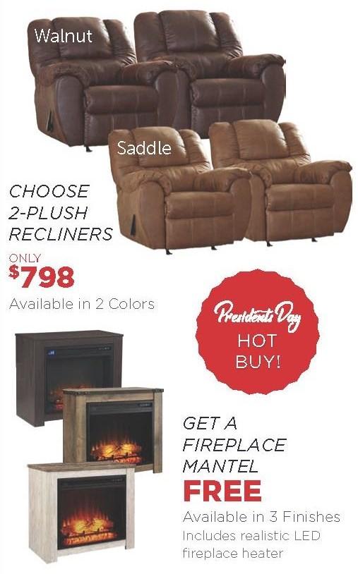 Choose 2x Recliners Get Free Firebox