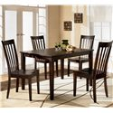 Ashley Furniture Hyland Rectangular Dining Table with 4 Chairs - Item Number: D258-225