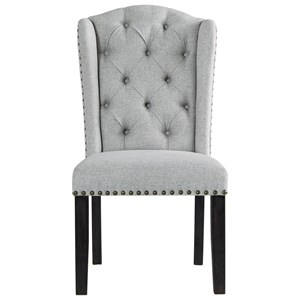 Dining Upholstered Side Chair with Tufted Wingback and Nailhead Trim