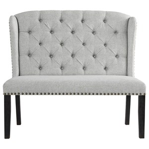 Upholstered Bench with Tufted Wingback and Nailhead Trim