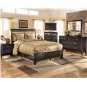 Ashley Furniture Kira California King Panel Bed  - Shown with Nightstand, Media Chest, Dresser, and Mirror