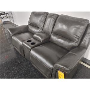 Last One! Power Leather Match Loveseat