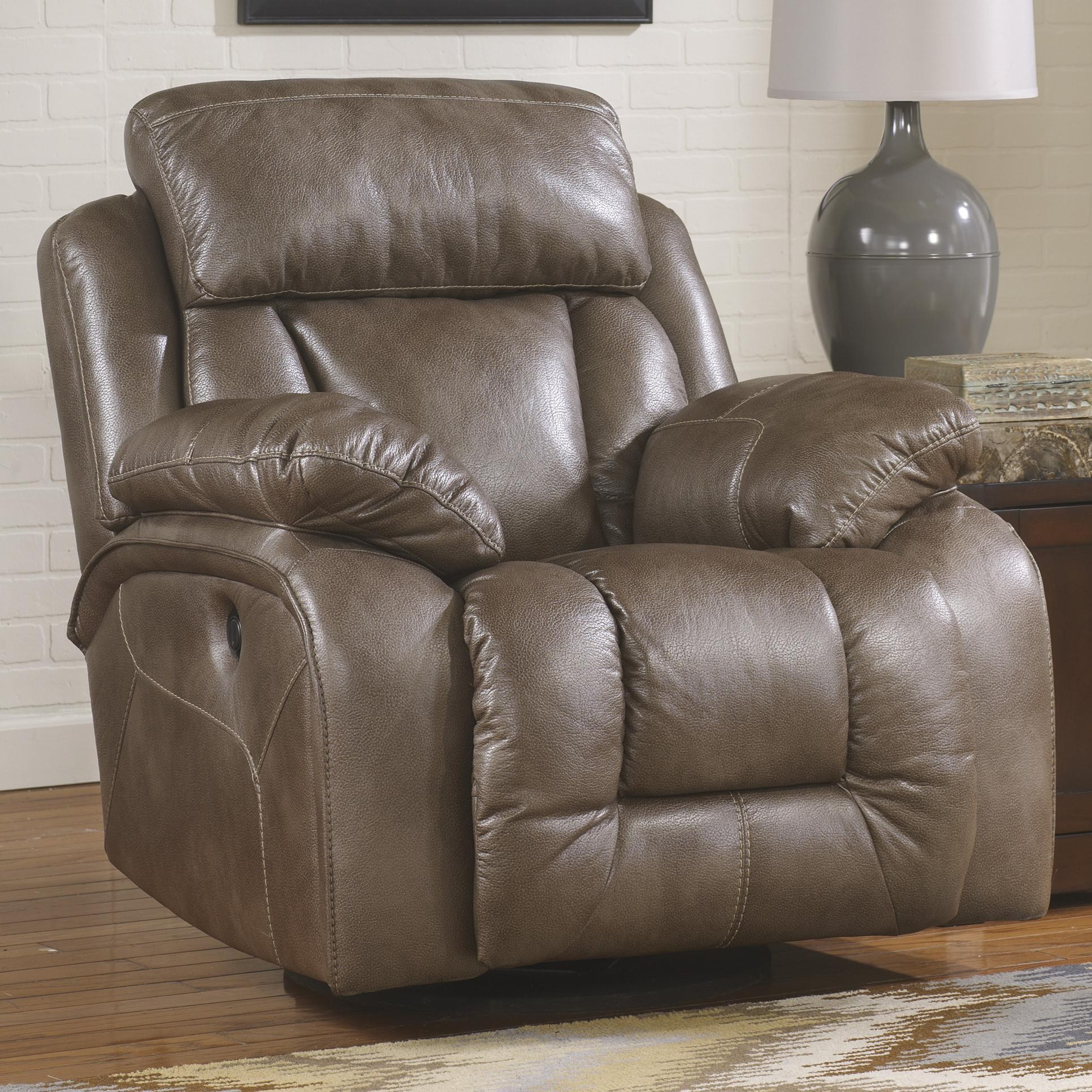 Ashley Furniture Loral Sable Contemporary Faux Leather Swivel  # Muebles Wichita Ks