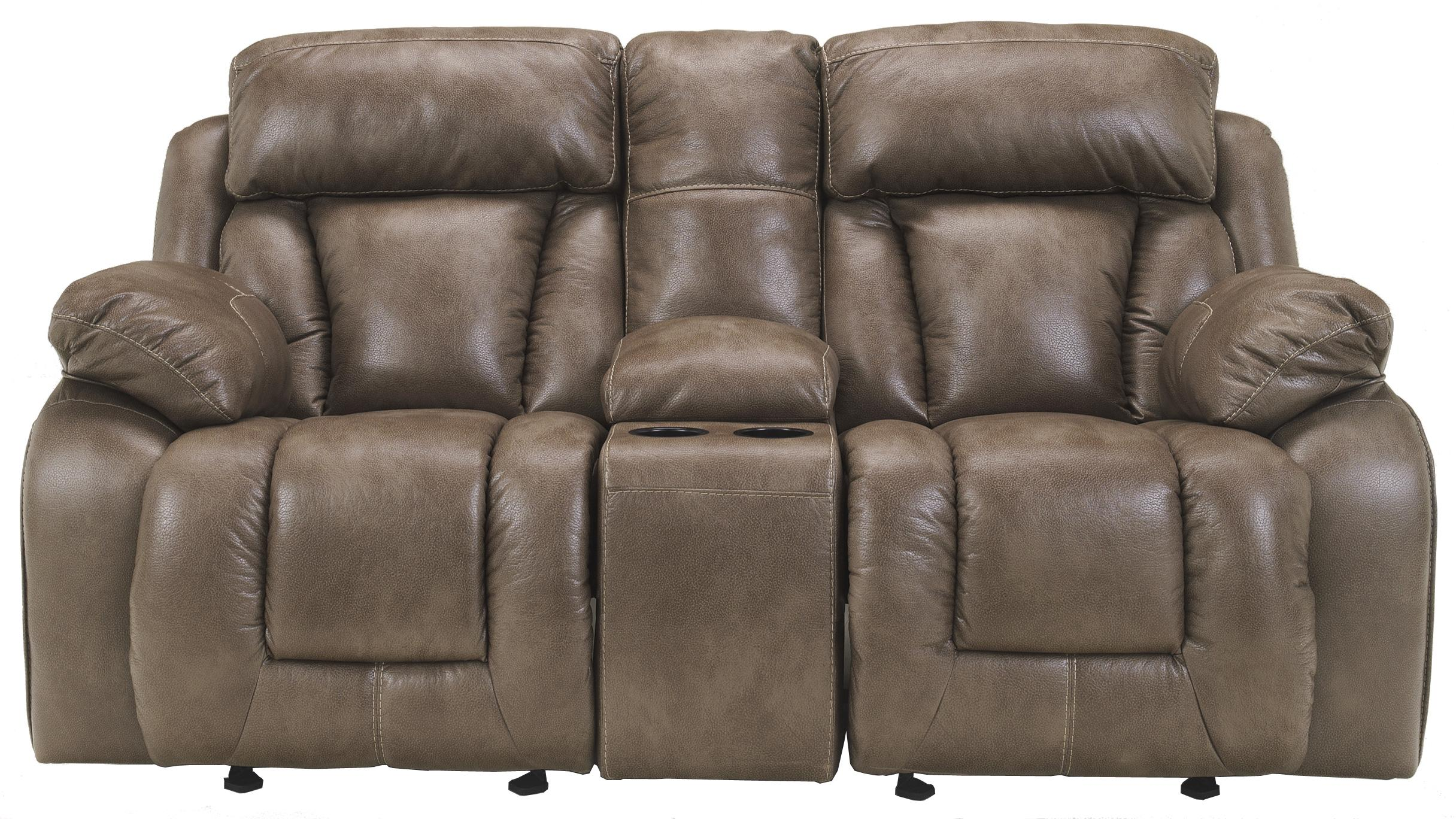 Ashley Furniture Loral - Sable Glider Reclining Power Loveseat w/ Console - Item Number: 4220091