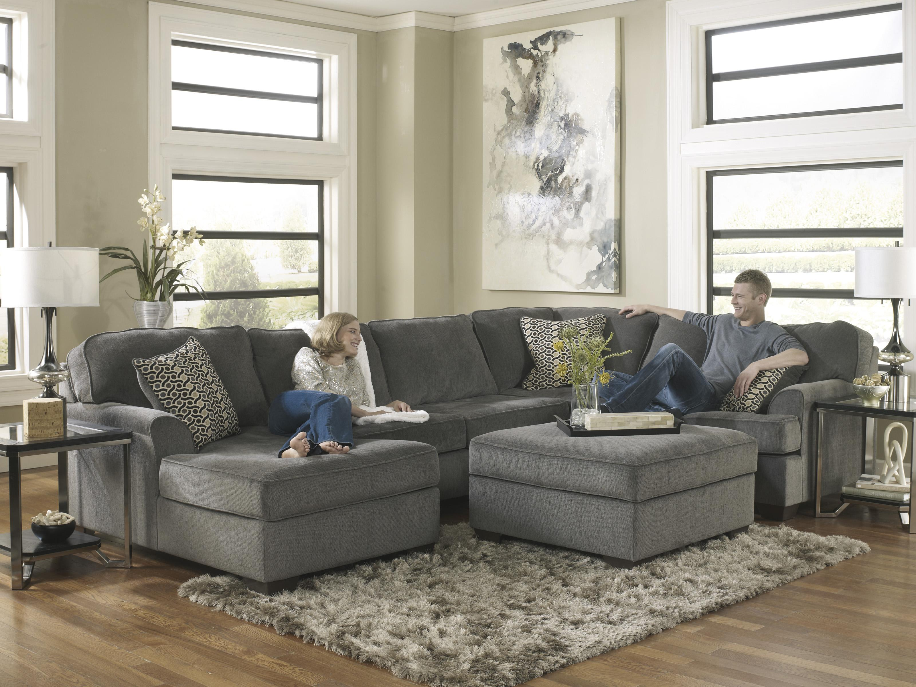Ashley furniture loric smoke contemporary 3 piece for 3 piece chaise sectional
