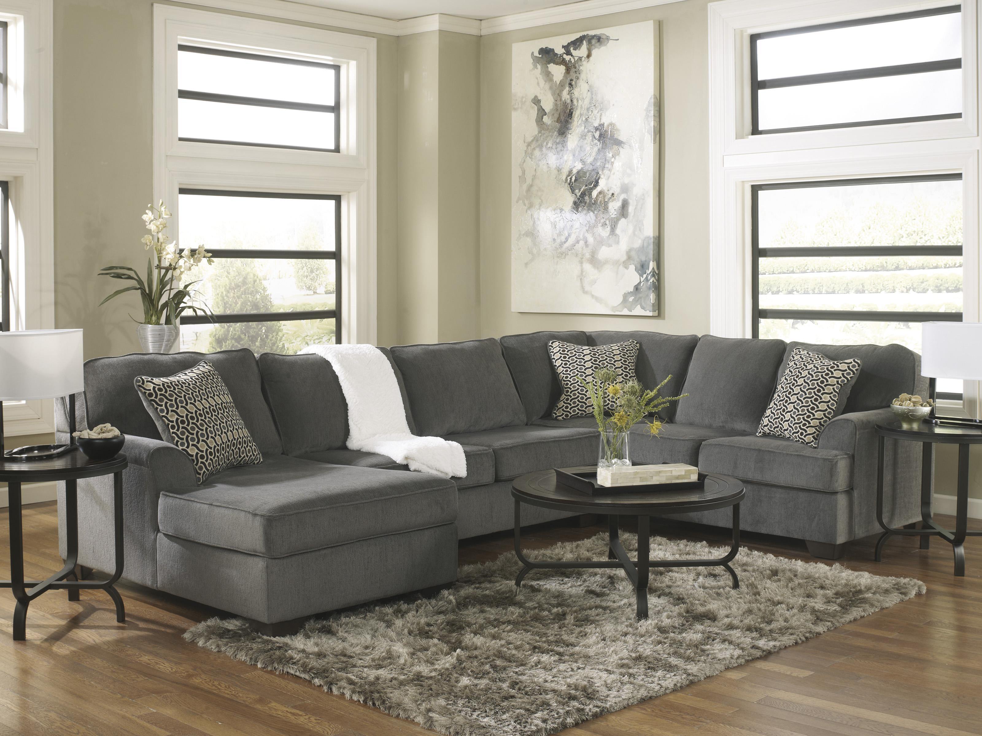 Ashley furniture loric smoke contemporary 3 piece for 3 piece sectional sofa with chaise