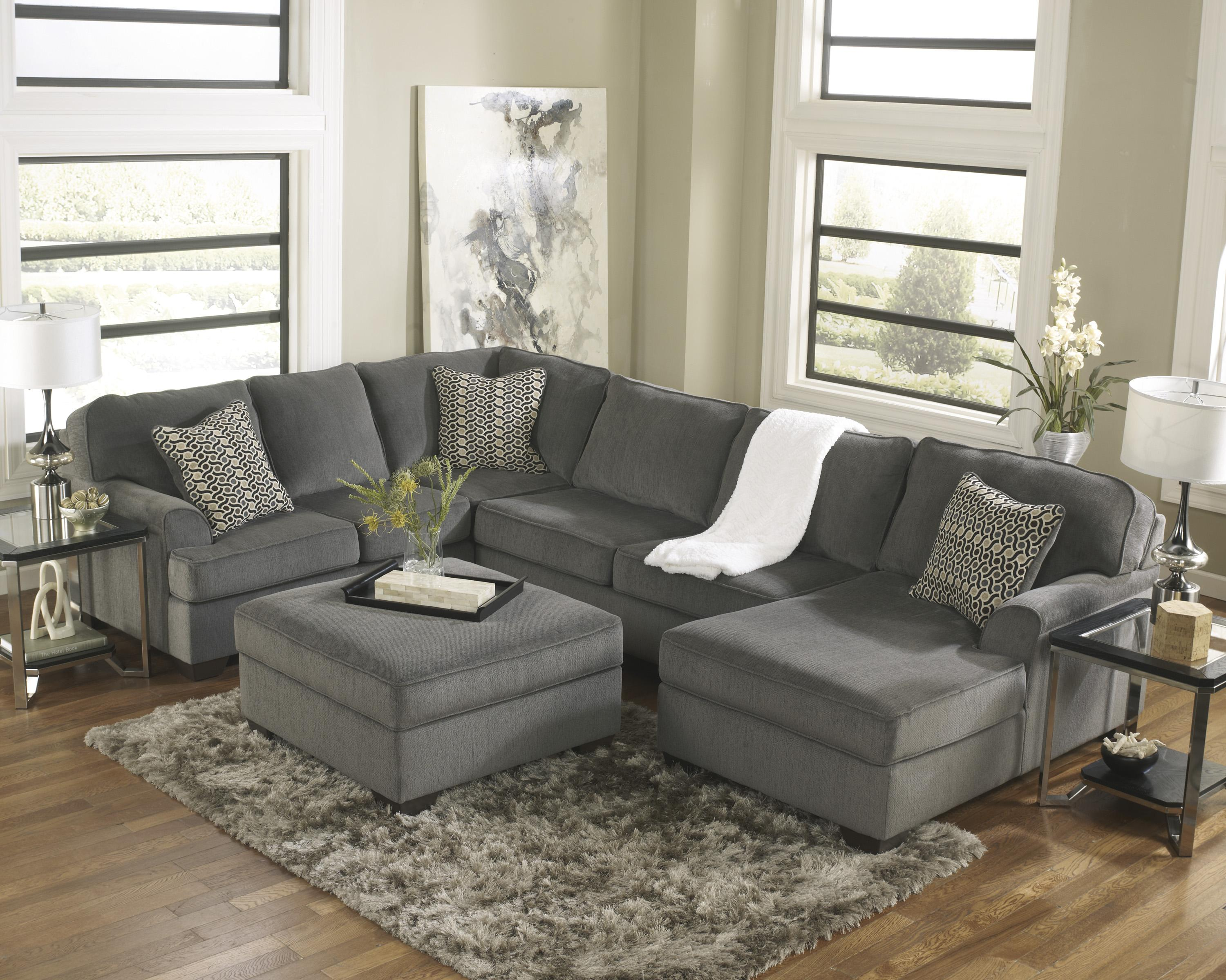 Ashley Furniture Loric Smoke Contemporary 3 Piece Sectional With Right Chaise John