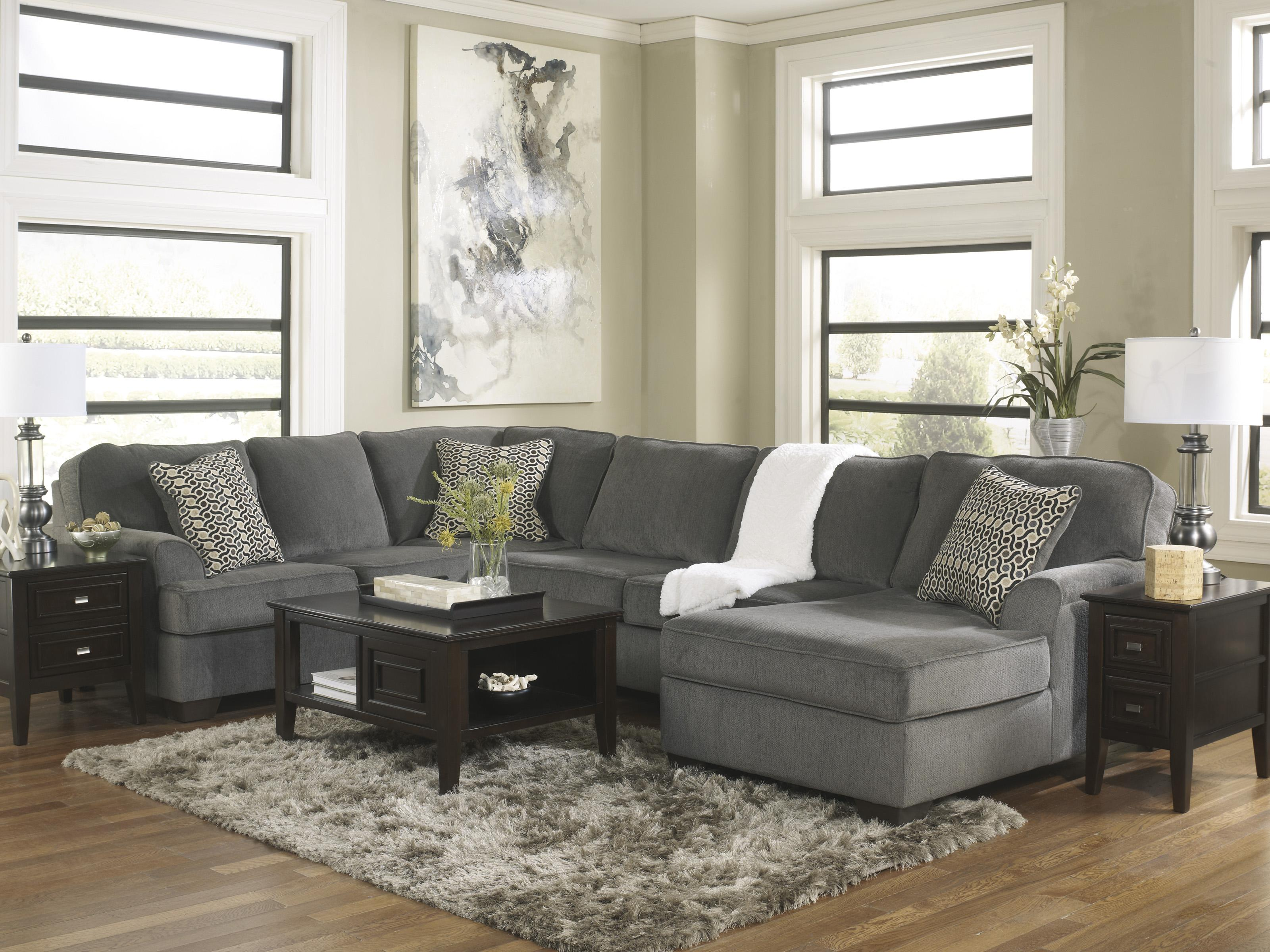 Ashley Furniture Loric Smoke Contemporary 3 Piece Sectional With Right Chaise