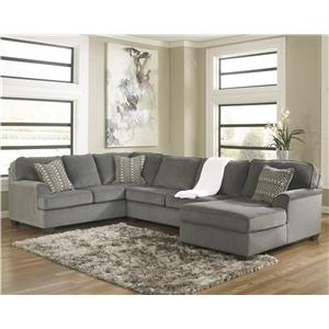 Ashley Furniture Loric - Smoke Contemporary 3-Piece Sectional with Chaise