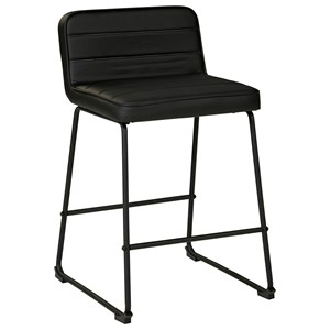 Contemporary Black Bar Stool with Upholstered Seat and Back