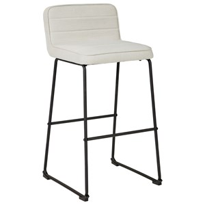 Contemporary Beige Tall Bar Stool with Upholstered Seat and Back