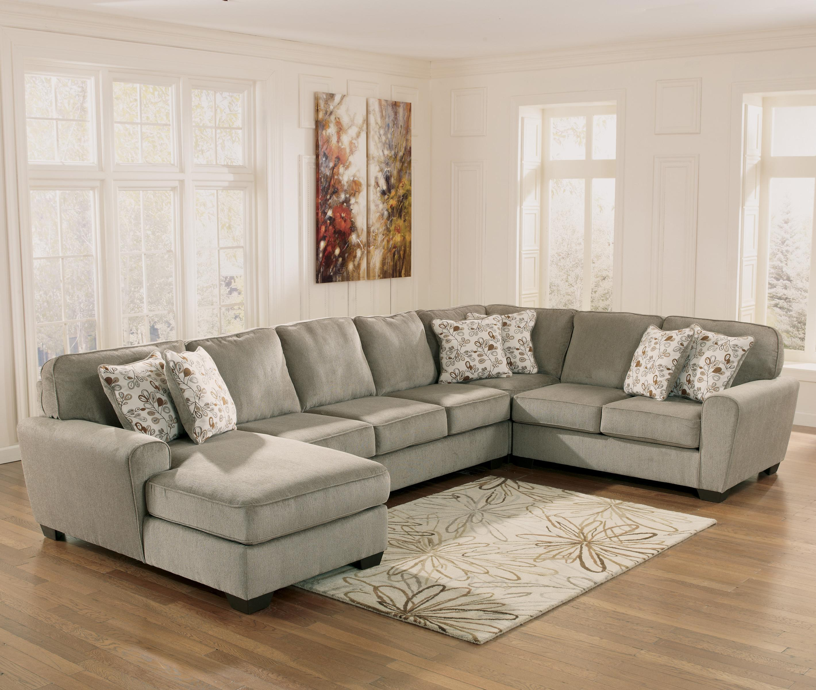 Ashley furniture patola park patina 4 piece sectional for Ashley chaise sectional