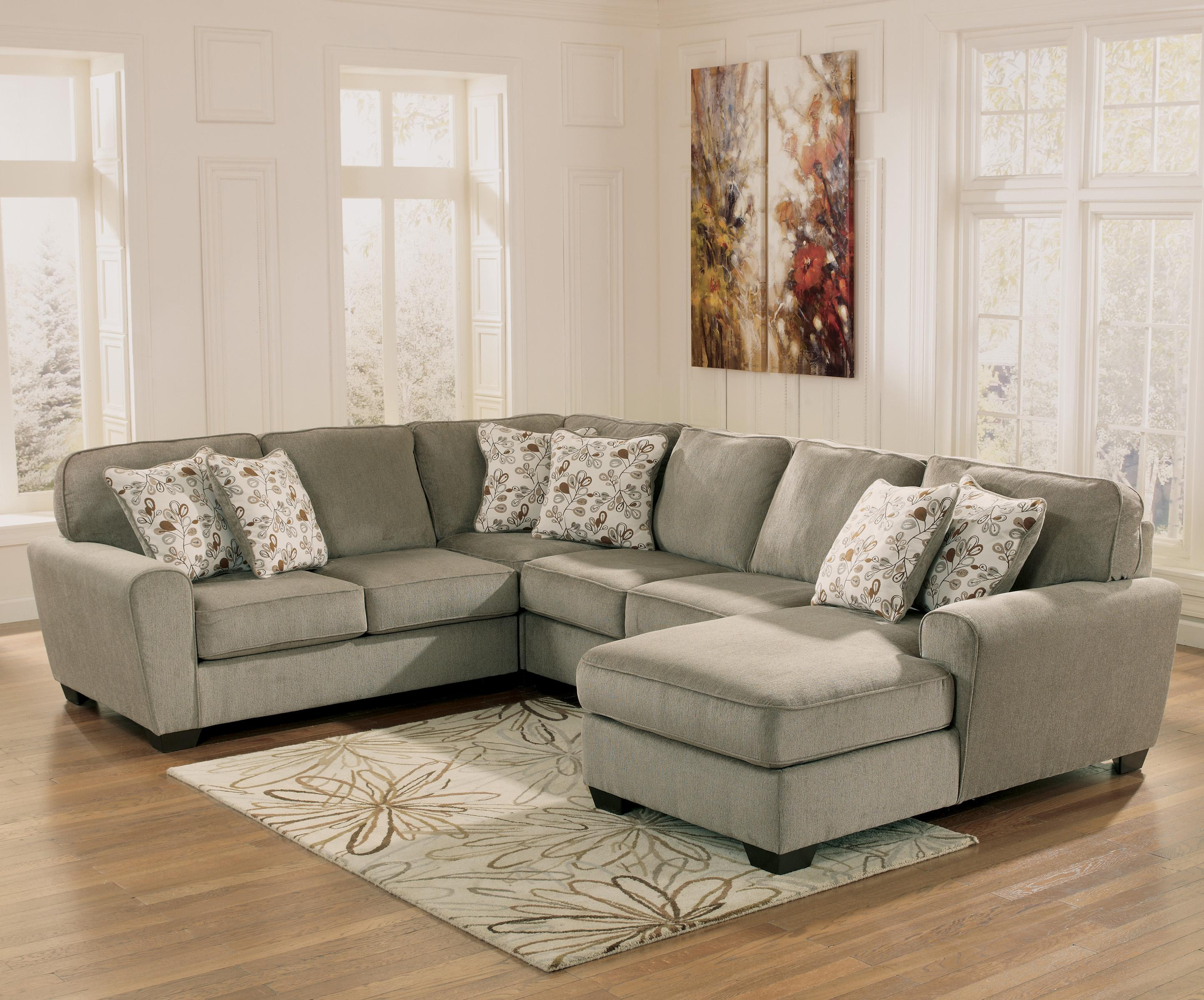 Ashley Furniture Patola Park - Patina 4-Piece Small Sectional with Right Chaise - Item Number: 1290055+77+34+17
