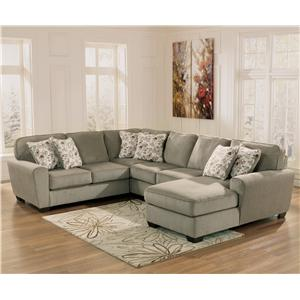 Ashley Furniture Patola Park - Patina 4-Piece Small Sectional with Right Chaise