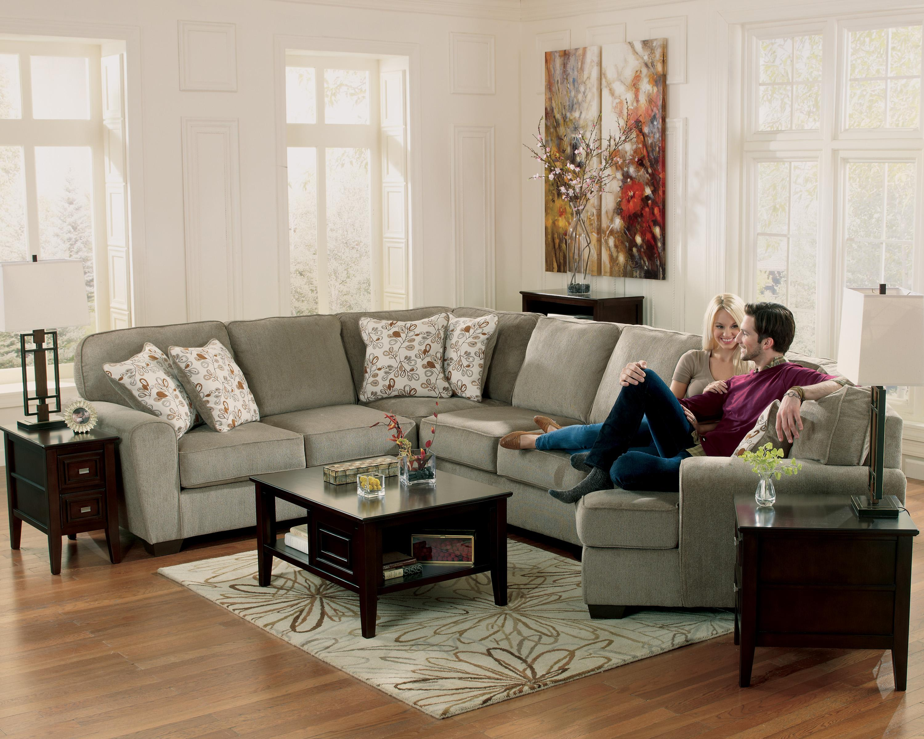 Ashley Furniture Patola Park Patina 4 Piece Small Sectional With Right Cuddler Van Hill