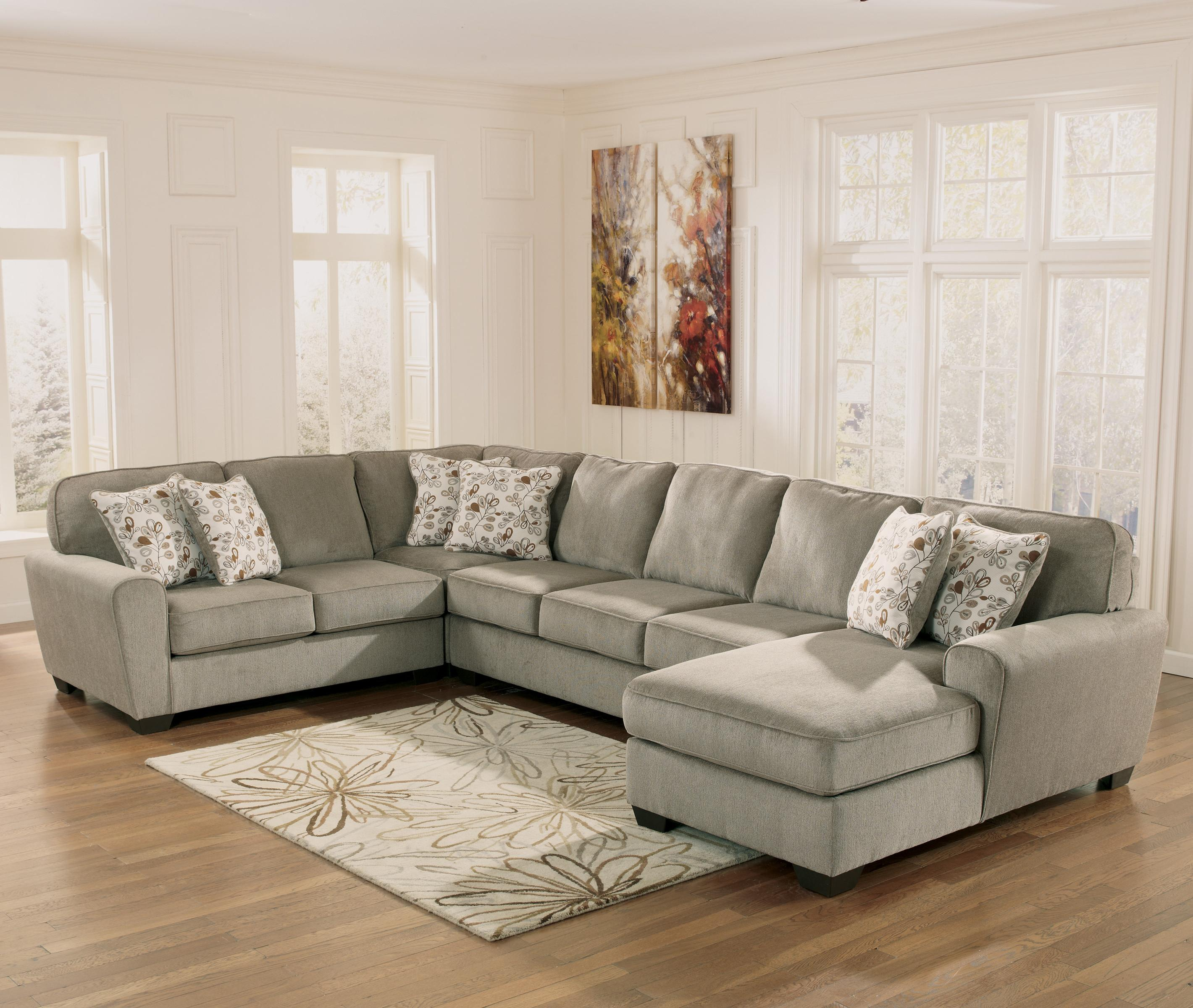Ashley Furniture Patola Park - Patina 4-Piece Sectional with Right Chaise - Item Number : 4 piece sectional with chaise - Sectionals, Sofas & Couches
