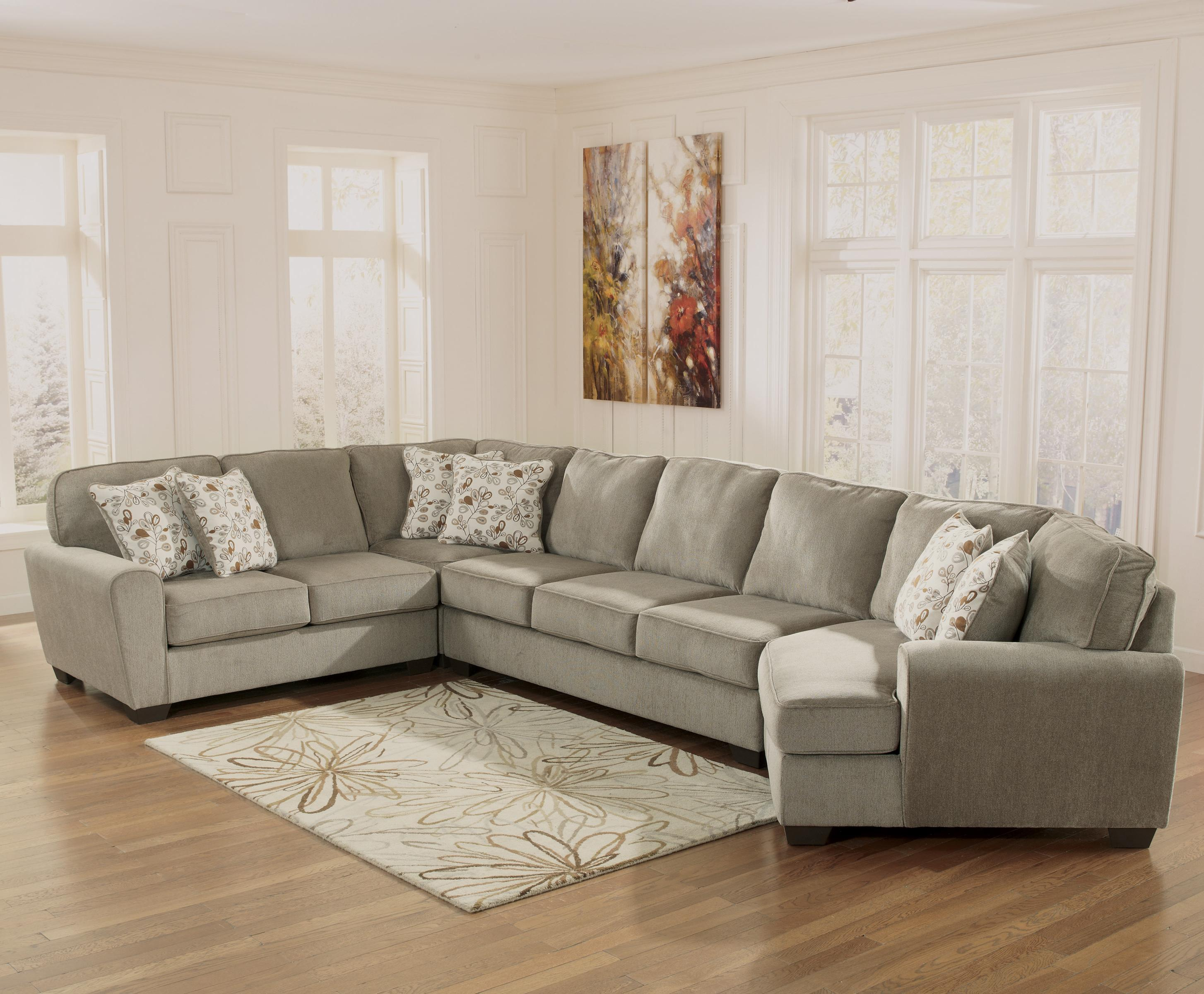 Ashley Furniture Patola Park - Patina 4-Piece Sectional with Right Cuddler - Item Number: 1290055+77+99+75