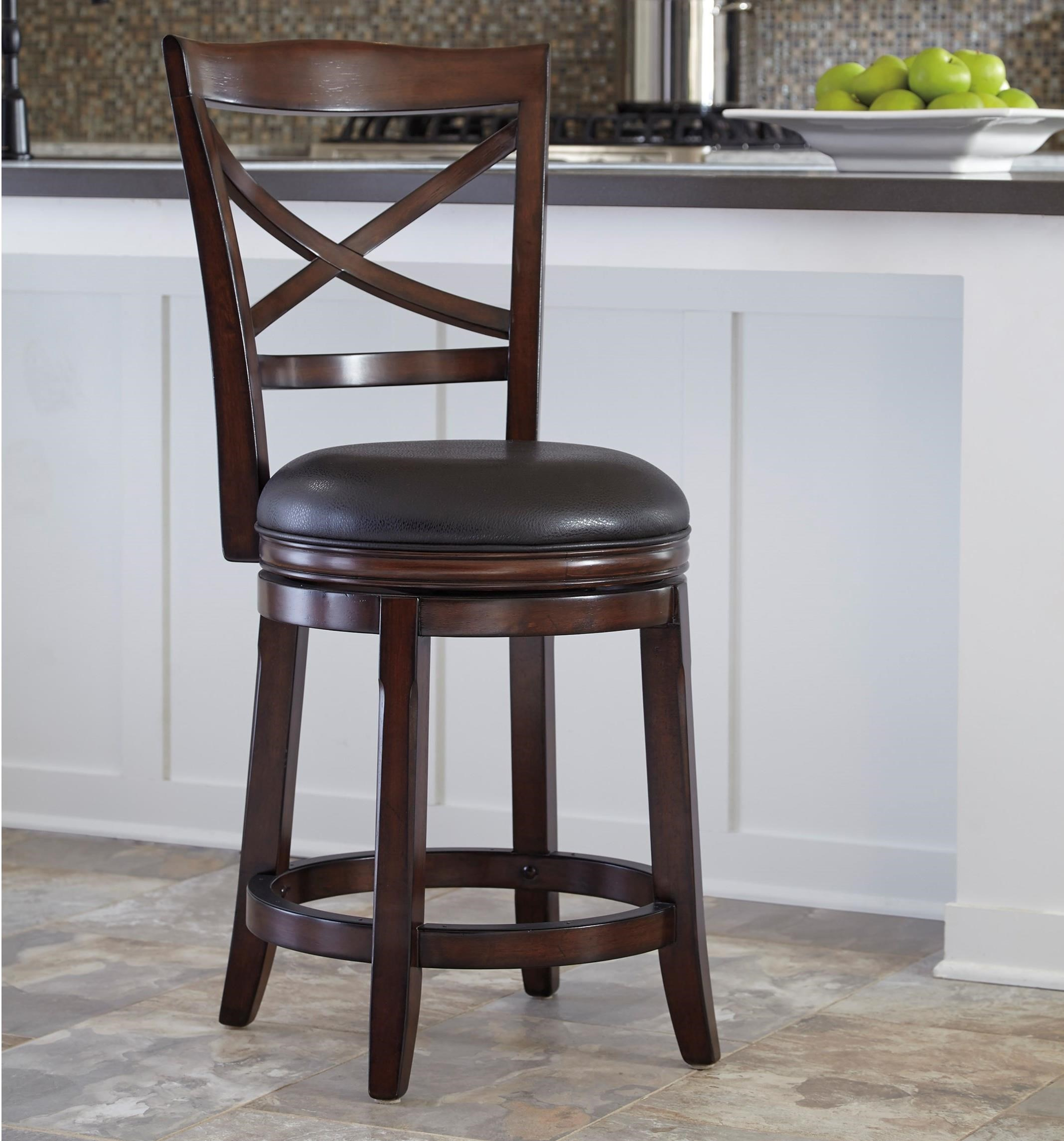 Millennium Porter Counter Height X Back Upholstered Swivel Barstool