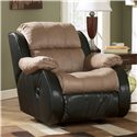 Ashley Furniture Presley - Cocoa Casual 2-Tone Rocker Recliner with Pillow Arms - 3150125