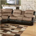Ashley Furniture Presley - Cocoa L-Shaped Sectional Sofa with Full-Size Sleeper - 3150136+88+94 - Detail of wedge and reclining loveseat