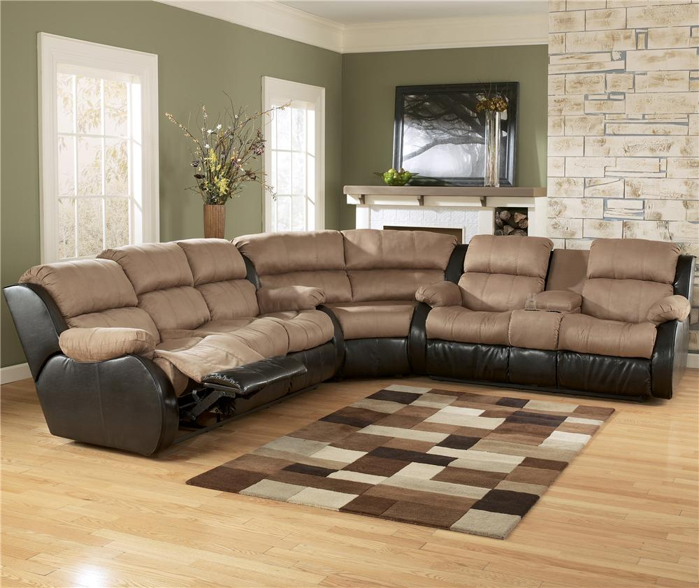 Ashley Furniture Presley - Cocoa 3-Piece Sectional Sofa with Reclining Seats - AHFA - Reclining Sectional Sofa Dealer Locator & Ashley Furniture Presley - Cocoa 3-Piece Sectional Sofa with ... islam-shia.org
