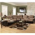Ashley Furniture Presley - Cocoa 3-Piece Sectional Sofa with Reclining Seats - 3150188+77+94
