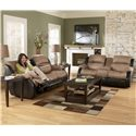 Ashley Furniture Presley - Cocoa Casual Reclining Sofa with Pillow Arms - 3150188 - Shown with Double Reclining Loveseat