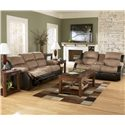 Ashley Furniture Presley - Cocoa Casual Style Double Reclining Loveseat with Storage Compartment - 3150194 - Shown with Reclining Sofa