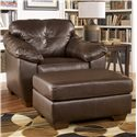 Ashley Furniture San Lucas - Harness Faux Leather Rectangular Upholstered Ottoman - 8370214 - Shown with Matching Chair