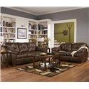 Ashley Furniture San Lucas - Harness Faux Leather Stationary Upholstered Loveseat - Shown with Matching Sofa