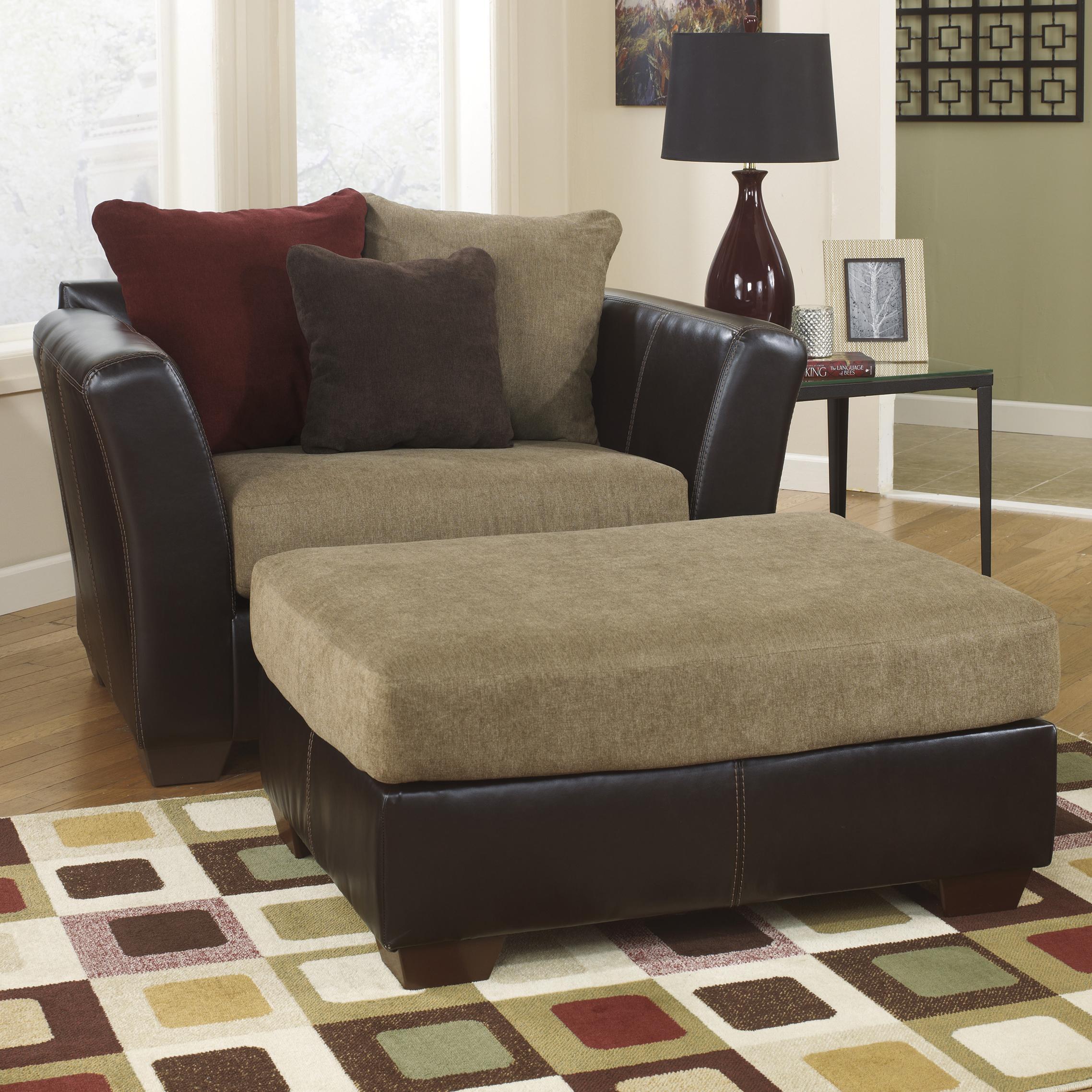 Ashley Furniture Sanya - Mocha Chair and a Half & Ottoman - Item Number: 2840023+08