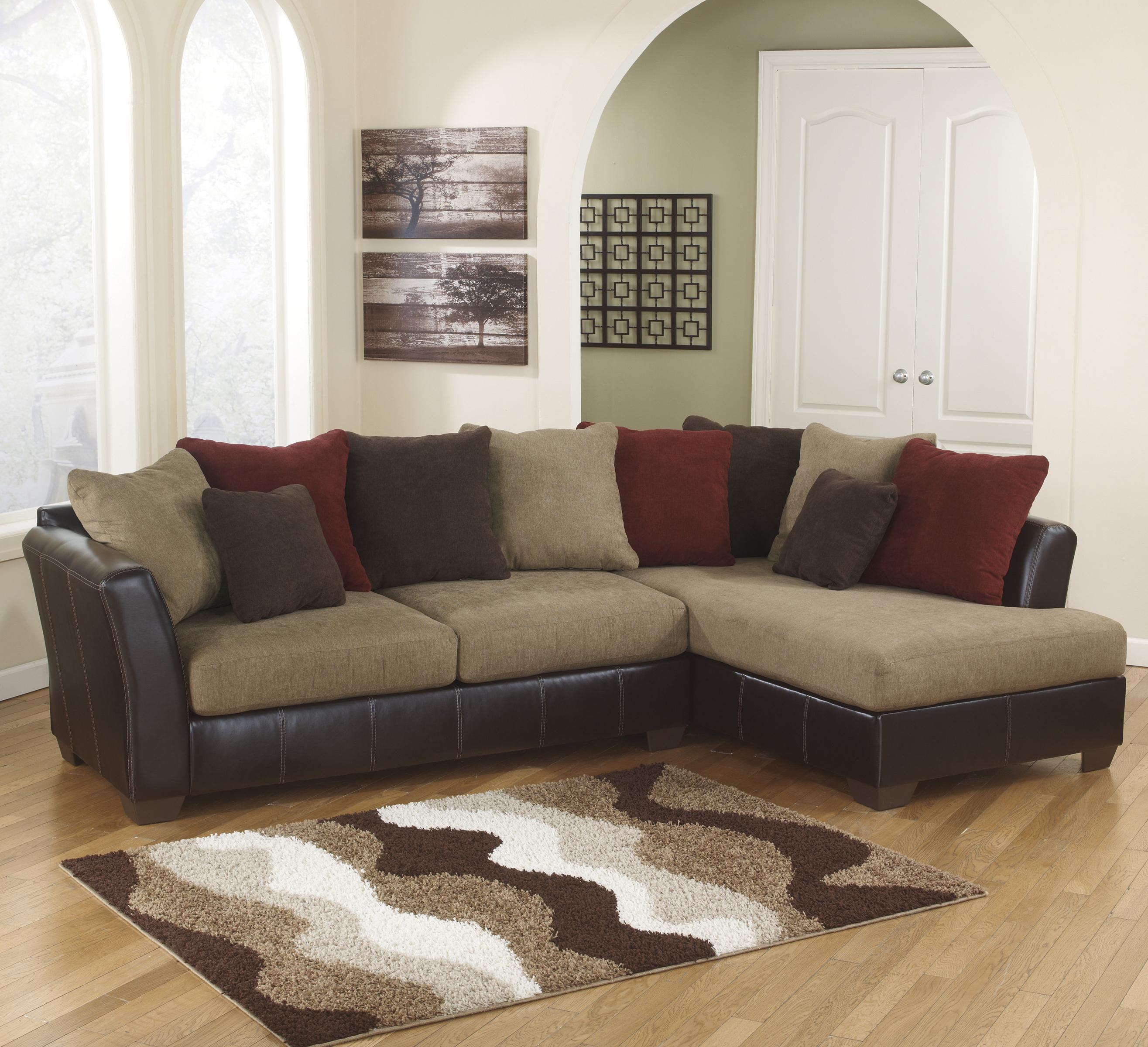 Ashley Furniture Sanya - Mocha 2-Piece Sectional with Right Chaise - Item Number: 2840066+17