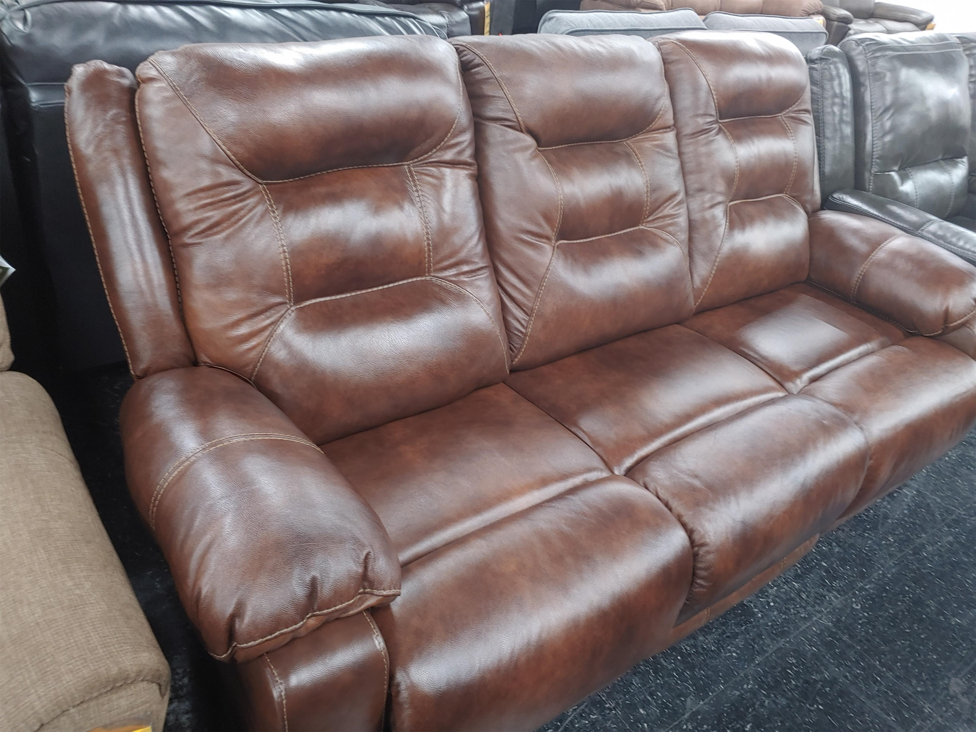 Last One Sofa Last One! Power Leather Match Sofa! at Morris Home